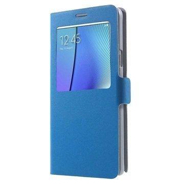 Samsung Galaxy Note 5 Doormoon View Flip Nahkakotelo Sininen