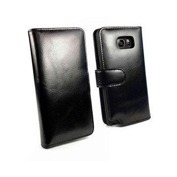 Samsung Galaxy Note 5 Tuff-luv Vintage Lompakkomallinen Nahkakotelo Musta