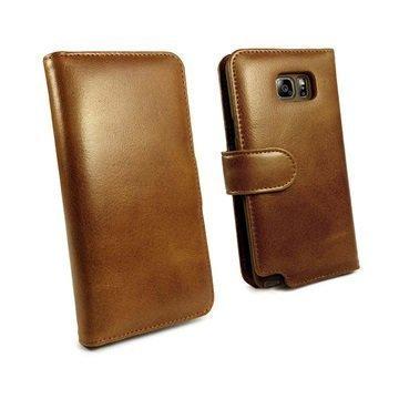 Samsung Galaxy Note 5 Tuff-luv Vintage Lompakkomallinen Nahkakotelo Ruskea