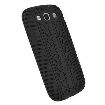 Samsung Galaxy S 3 I9300 I9305 Igadgitz Tyre Tread Design Silikonikotelo Musta