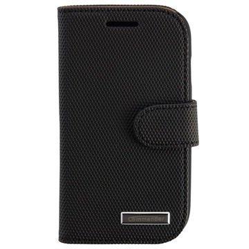 Samsung Galaxy S 3 Mini I8190 Commander Elite Book Nahkakotelo Timantti Hiilimusta