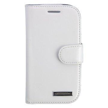 Samsung Galaxy S 3 Mini I8190 Commander Elite Book Nahkakotelo Valkoinen