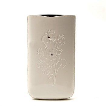 Samsung Galaxy S 4 I9500 I9502 I9505 DC SRC Slide Silvery Nahkakotelo Valkoinen/ Valkoinen Kivi