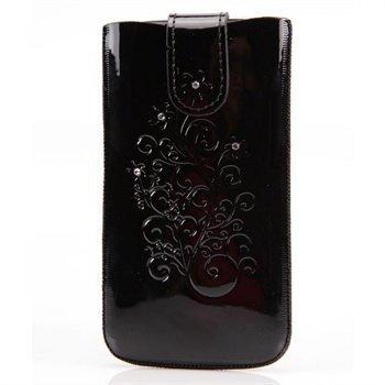 Samsung Galaxy S 4 I9500 I9505 DC SRC Protect Silvery Nahkakotelo Musta / Valkoinen Kivi