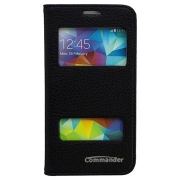 Samsung Galaxy S 5 Mini Commander Läpällinen Nahkakotelo Kahdella Ikkunalla Musta