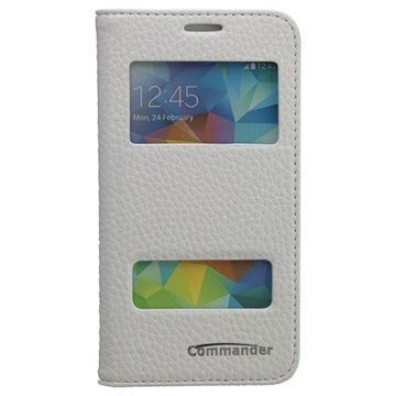 Samsung Galaxy S 5 Mini Commander Läpällinen Nahkakotelo Kahdella Ikkunalla Valkoinen