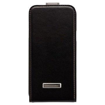 Samsung Galaxy S 5 Mini Commander Premium Deluxe Flip Nahkakotelo Musta