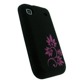 Samsung Galaxy S i9000 iGadgitz Flower Tattoo Silicone Case Black / Pink