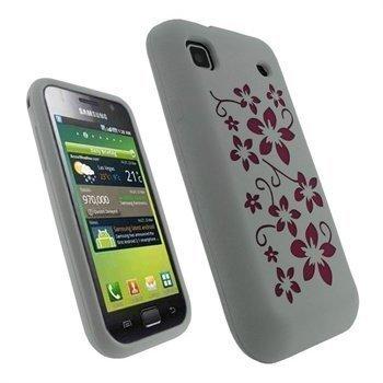 Samsung Galaxy S iGadgitz Flower Design Silikonikotelo Pinkki/Valkoinen