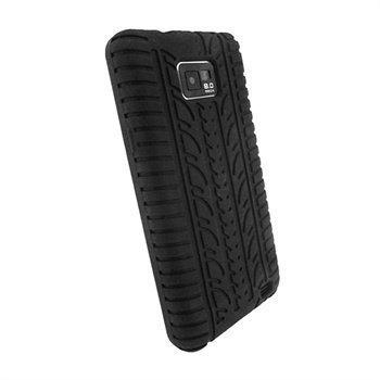 Samsung Galaxy S2 I9100 iGadgitz Rengaskuvioitu Silikonikotelo Musta