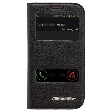 Samsung Galaxy S3 Commander Double Window Läpällinen Nahkakotelo Musta