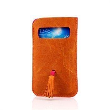 Samsung Galaxy S3 I9300 I9305 DC Natty Grezy Nahkakotelo Kissa Keltainen / Fuksianpunainen