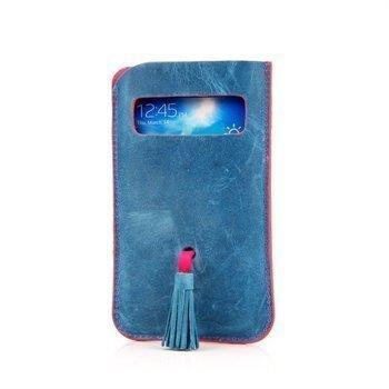Samsung Galaxy S3 I9300 I9305 DC Natty Grezy Nahkakotelo Sininen / Fuksianpunainen