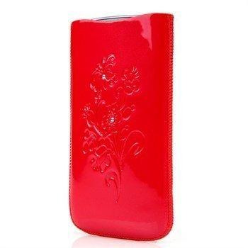 Samsung Galaxy S3 I9300 I9305 DC SRC Slide Silvery Nahkakotelo Punainen / Valkoinen Kivi