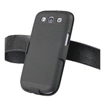 Samsung Galaxy S3 I9300 iGadgitz Gummiert Hardt Deksel Svart