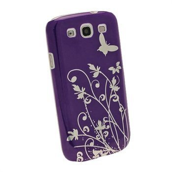 Samsung Galaxy S3 I9300 iGadgitz Sommerfugl Og Blomst Hardt Deksel Lilla/ Sølv
