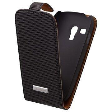 Samsung Galaxy S3 Mini I8190 Commander Deluxe Nahkakotelo Timantti Hiilen Musta