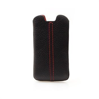 Samsung Galaxy S3 i9300 Konkis Double Stitch Nahkakotelo Musta / Punainen