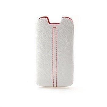 Samsung Galaxy S3 i9300 Konkis Double Stitch Nahkakotelo Valkoinen / Punainen
