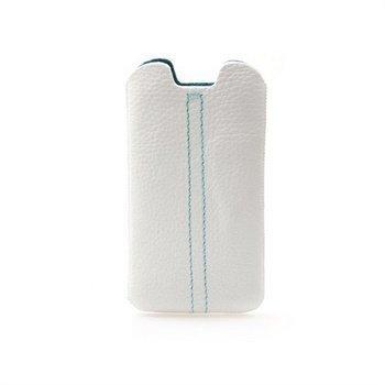 Samsung Galaxy S3 i9300 Konkis Double Stitch Nahkakotelo Valkoinen / Turkoosi