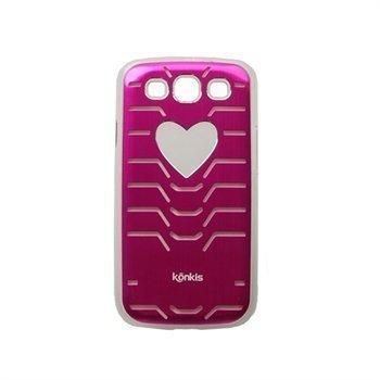 Samsung Galaxy S3 i9300 Konkis Vilkkuva Sydän Taustakuori Pinkki