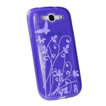 Samsung Galaxy S3 i9300 iGadgitz Butterfly TPU-Kotelo Violetti