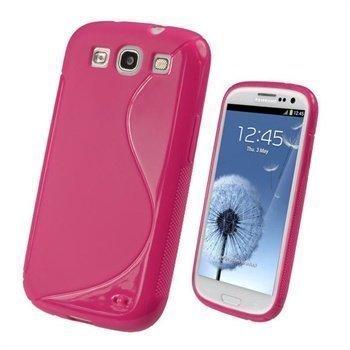 Samsung Galaxy S3 i9300 iGadgitz Dual Tone TPU-Suojakuori Kuuma Pinkki