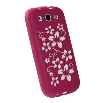 Samsung Galaxy S3 i9300 iGadgitz Flowers Silikonisuojus Pinkki / Valkoinen