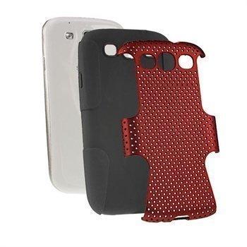 Samsung Galaxy S3 i9300 iGadgitz Suojakuori Musta / Punainen