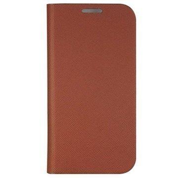 Samsung Galaxy S4 I9500 Anymode Saffiano Wallet Nahkakotelo Ruskea