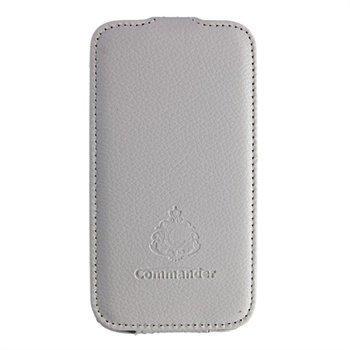 Samsung Galaxy S4 I9500 Commander Business Nahkainen Läppäkotelo Valkoinen