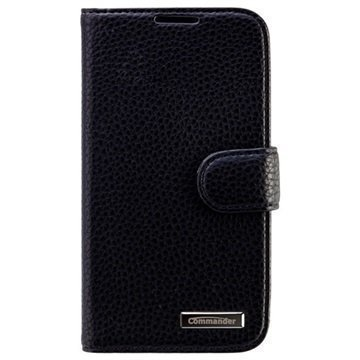 Samsung Galaxy S4 I9500 Commander Kirjamallinen Nahkakotelo Elite Musta