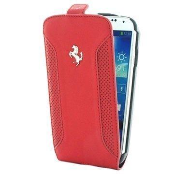 Samsung Galaxy S4 I9500 I9505 Ferrari F12 Pystysuuntainen Läpällinen Nahkakotelo Punainen