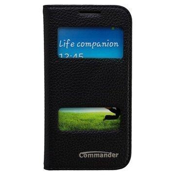 Samsung Galaxy S4 Mini Commander Double Window Nahkainen Läppäkotelo Musta