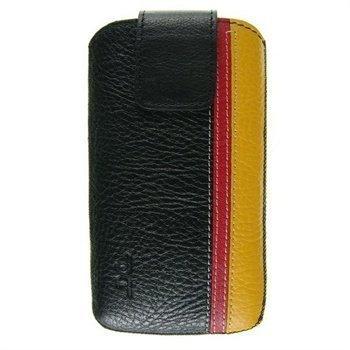 Samsung Galaxy S4 i9500 i9505 DC Trambolin Montone Nahkakotelo Musta / Punainen / Keltainen