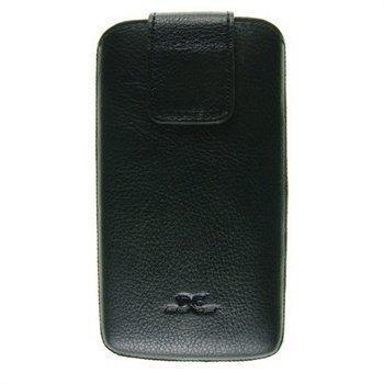 Samsung Galaxy S4 i9500 i9505 DC Trambolin Montone Nahkakotelo Musta