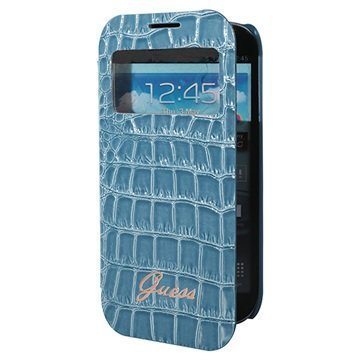 Samsung Galaxy S4 mini I9190 Guess Croco Smart View Folio Kotelo Sininen