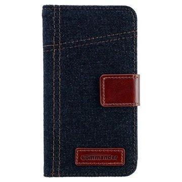 Samsung Galaxy S5 Commander Book Elite Jeans Läppäkotelo Farkkukangas Sininen / Ruskea