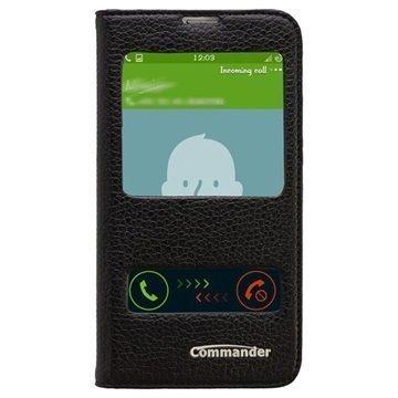 Samsung Galaxy S5 Commander Läpällinen Nahkakotelo Kahdella Ikkunalla Musta