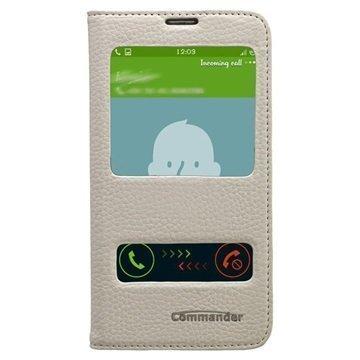 Samsung Galaxy S5 Commander Läpällinen Nahkakotelo Kahdella Ikkunalla Valkoinen
