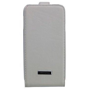 Samsung Galaxy S5 Commander Premium DeLuxe Läpällinen Nahkakotelo Valkoinen