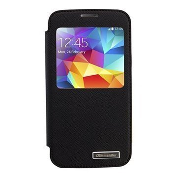 Samsung Galaxy S5 Commander Window Book Cross Nahkakotelo Musta