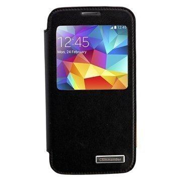 Samsung Galaxy S5 Commander Window Premium Nahkakotelo Musta