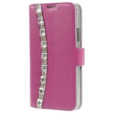 Samsung Galaxy S5 Doormoon Rhinestone Lompakkomallinen Nahkakotelo Kuuma Pinkki