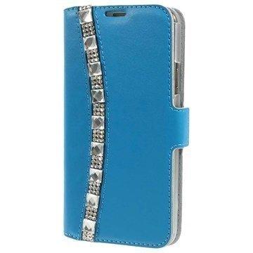 Samsung Galaxy S5 Doormoon Rhinestone Lompakkomallinen Nahkakotelo Sininen