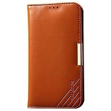 Samsung Galaxy S5 Kalaideng Royale II Nahkainen Lompakkokotelo Ruskea