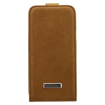 Samsung Galaxy S5 Mini Commander Premium DeLuxe Vintage Avattava Nahkakotelo Ruskea