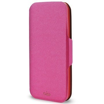 Samsung Galaxy S5 Puro Wallet Leather Case Pink / Red