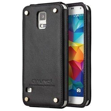 Samsung Galaxy S5 Qialino Luxury Slim Nahkakotelo Musta