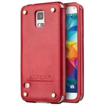Samsung Galaxy S5 Qialino Luxury Slim Nahkakotelo Punainen